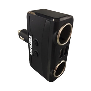Fatsac Socket Splitter with Dual USB Ports and On/Off Switch